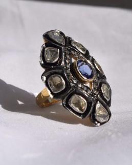 Bague Vintage Tanzanite & Diamants Elliade Paris