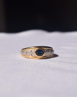 Bague Jonc Or, Saphir et Diamants