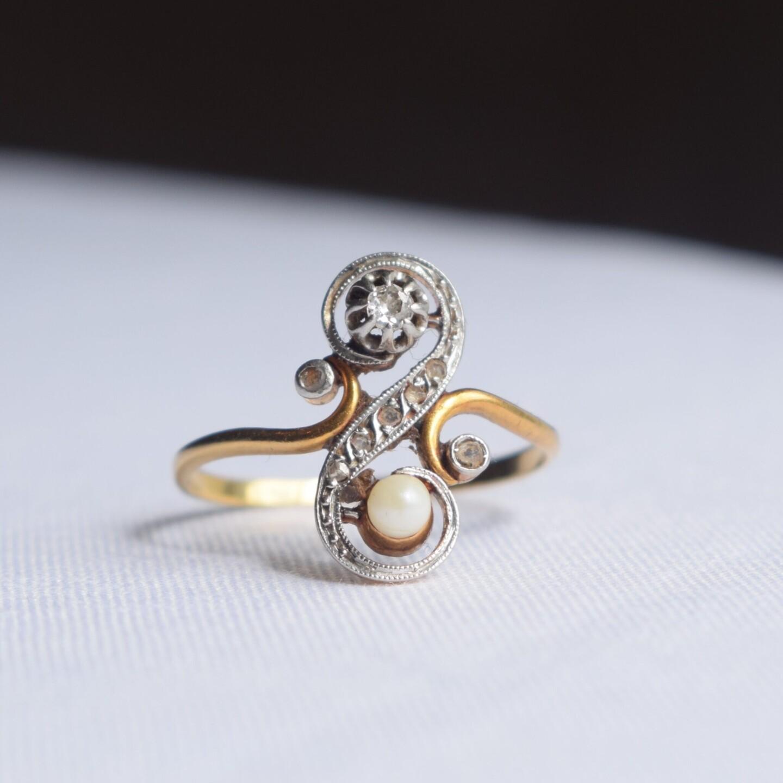 Bague Vintage Toi et Moi Perle et Diamants