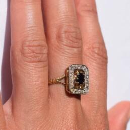 """Bague Vintage """"Margaret"""" Saphir et Diamants"""