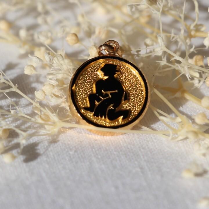 medaille pendentif vintage sign astrologique verseau or