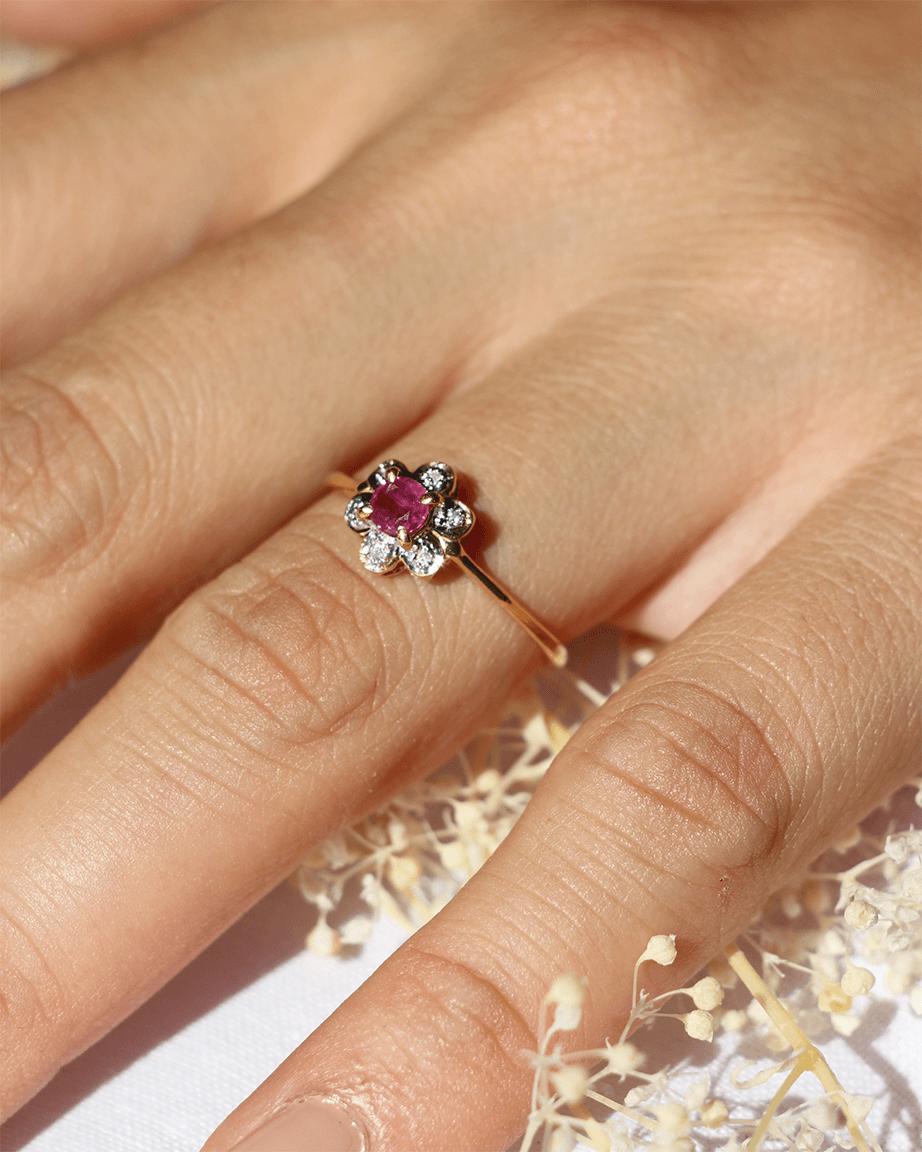 rubis or diamant bague vintage