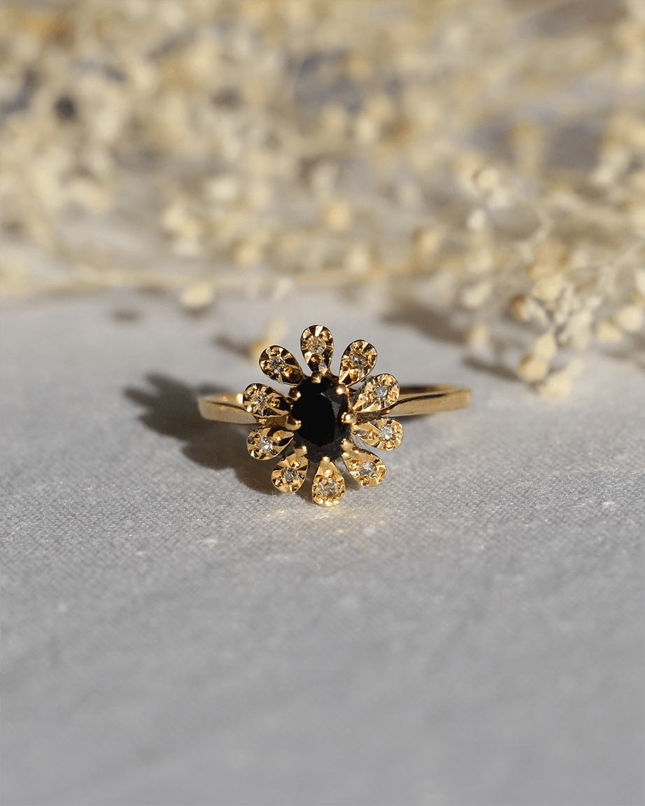 marguerite bague vintage saphir diamant