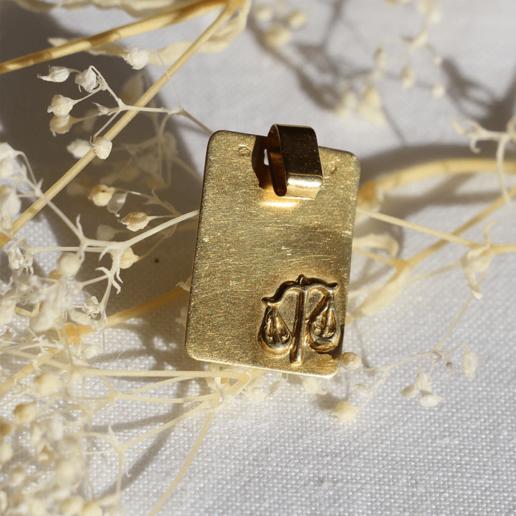 medaille pendentif vintage sign astrologique balance gravé or