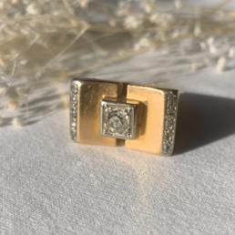 bague vintage unique 1940 ancienne ring gold or diamant diamond tank rare