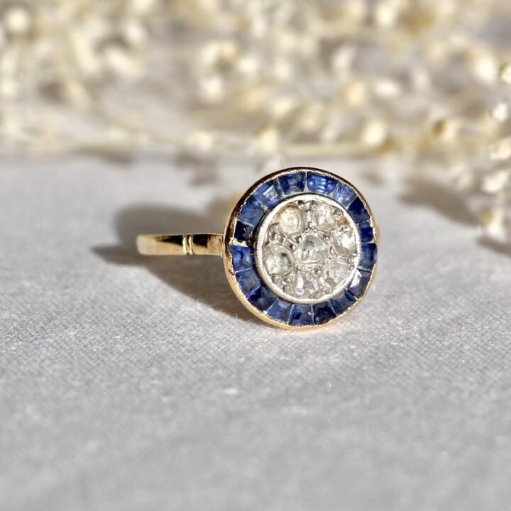 bague vintage unique saphir diamant or platine