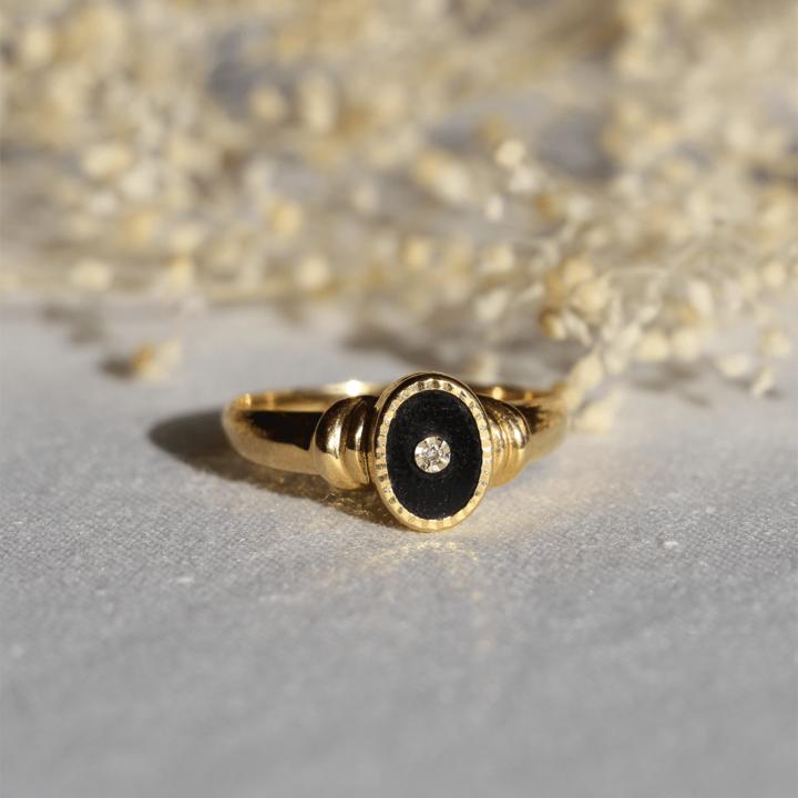 or jaune onyx diamant bague vintage