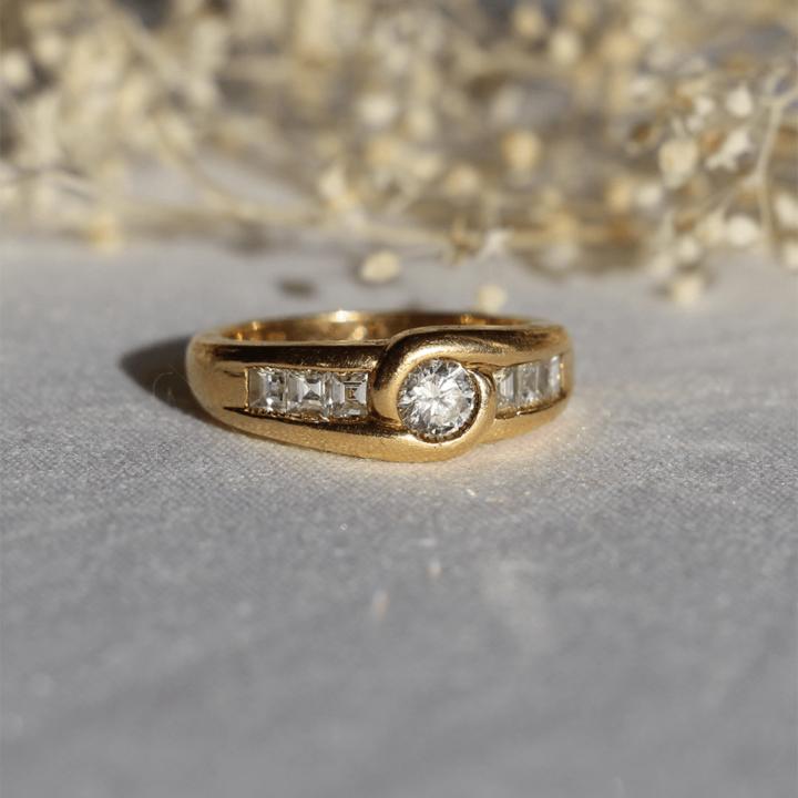 bague vimtage or jaune diamant annees 80