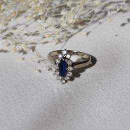 marquise or blanc diamant saphir bague vintage