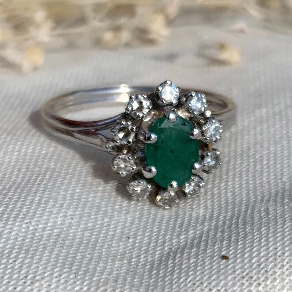marguerite emeraude diamant vintage unique bague ring emerald diamond daisy or gold 18K