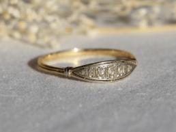 bague vintage unique platine diamants