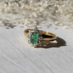 emeraude bague unique vinateg ring emerald diamant diamond gold or