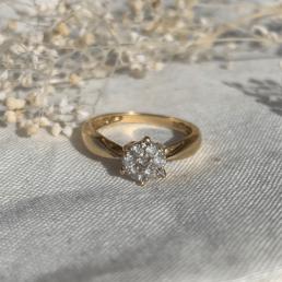 bague vintage unique fleur diamant diamond or gold flower ring
