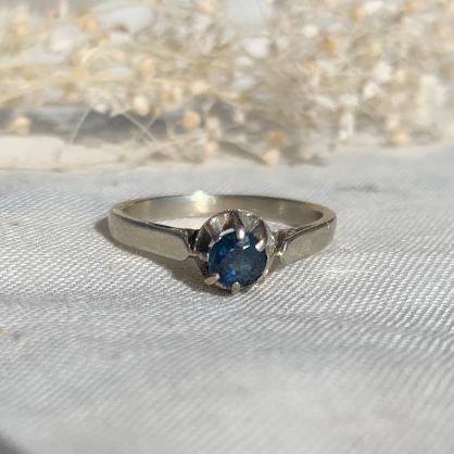 bague unique vinatge ring platine platinum saphir sapphire solitaire