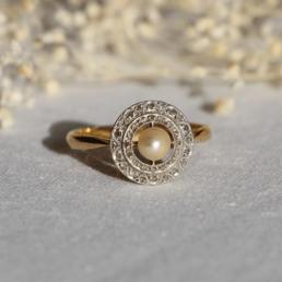 bague unique vintage ring pearl perle diamant or gold