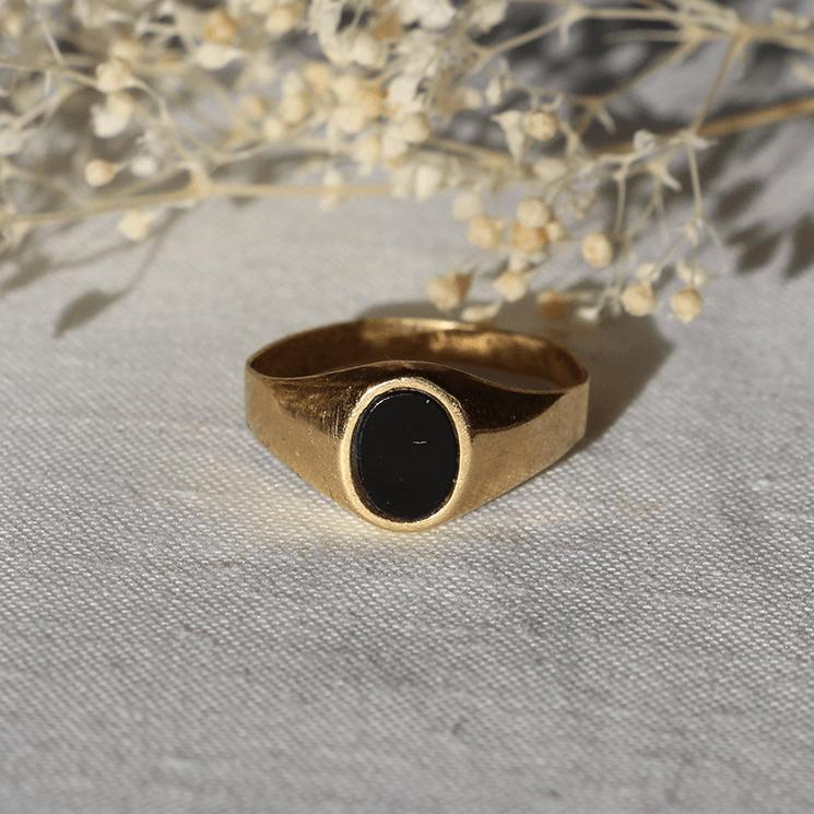 Bague unisexe vintage unique or onyx chevalière signet ring